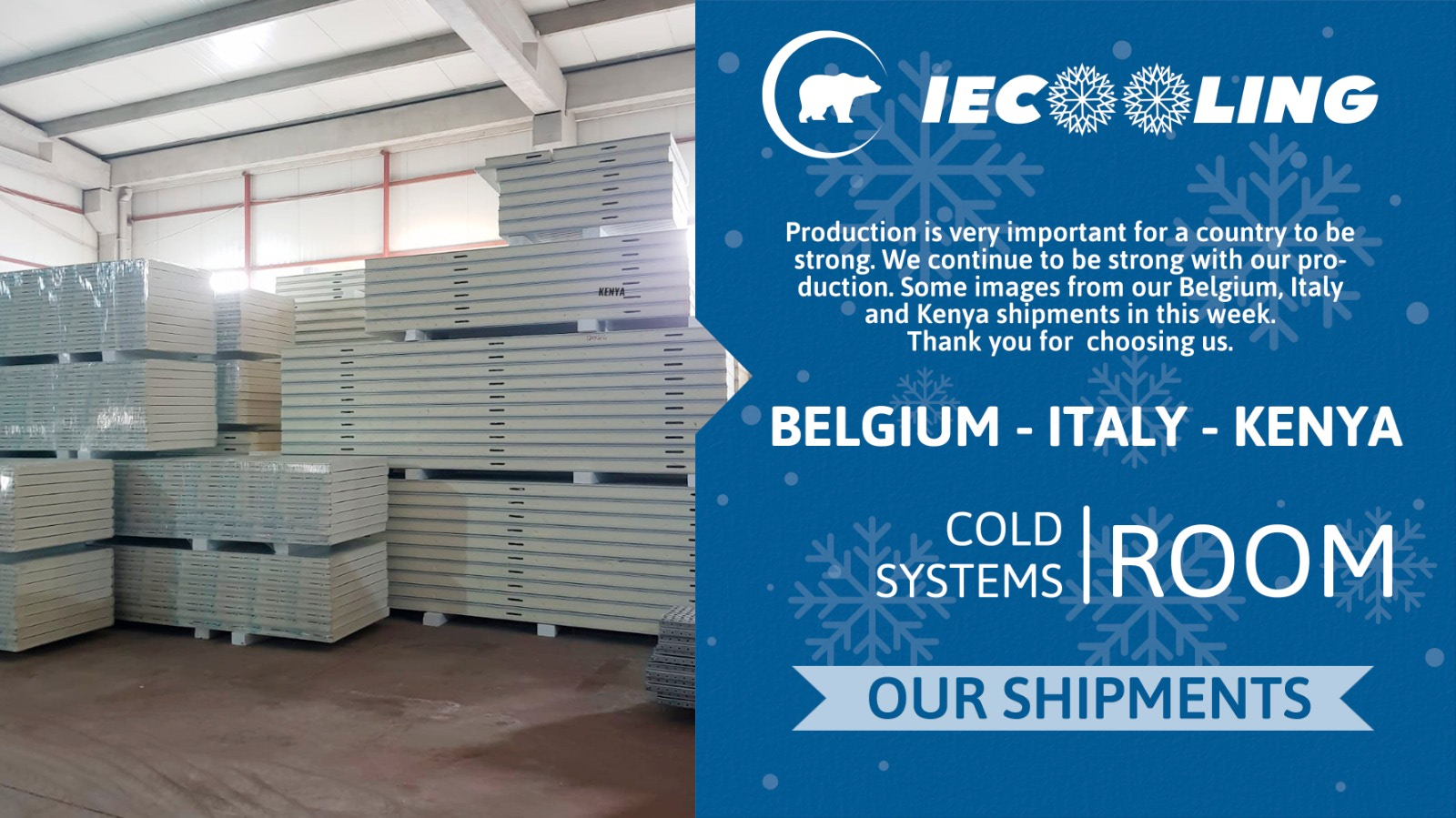 Belgium, Italy and Kenya shipments